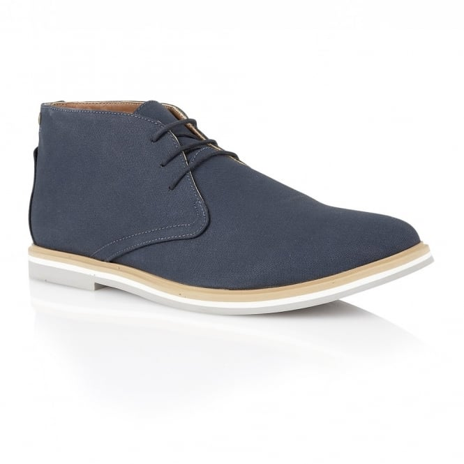 Frank Wright Barrow Navy Canvas Derby Boot