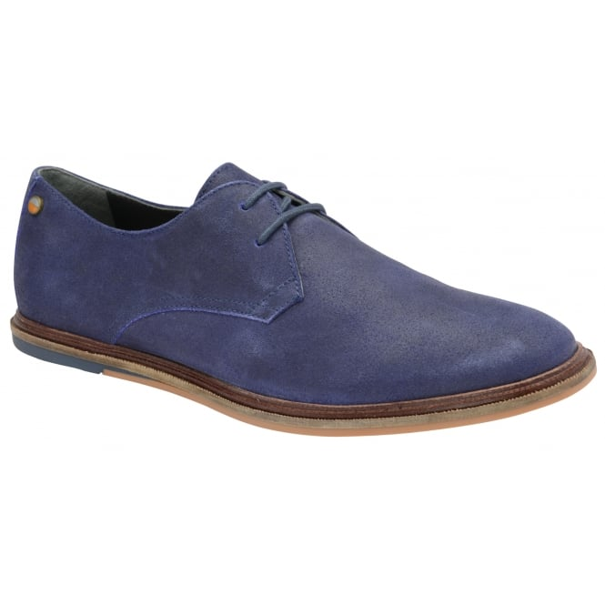 Frank Wright Burley Blue Crackled Suede Lace-Up Derby Shoe