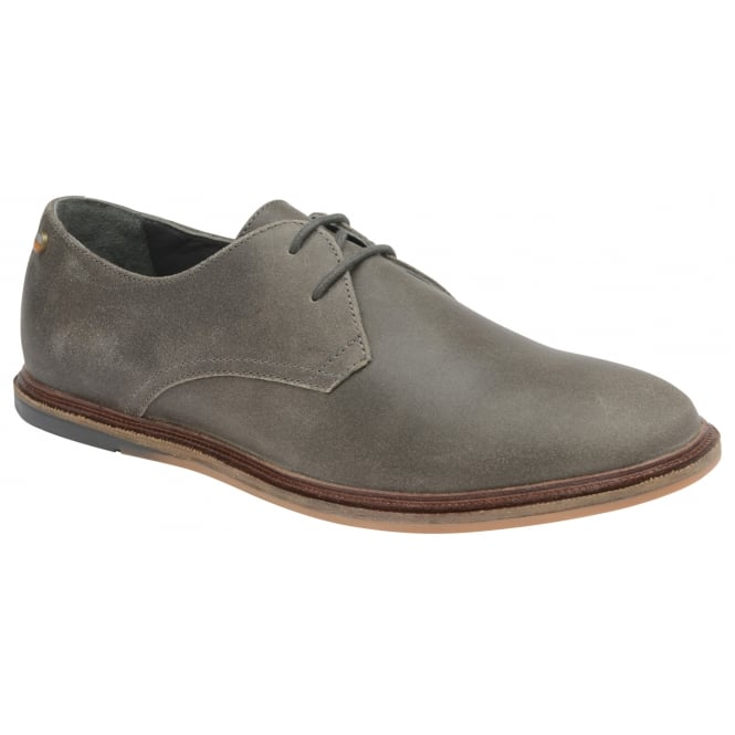 Frank Wright Burley Grey Crackled Suede Lace-Up Derby Shoe