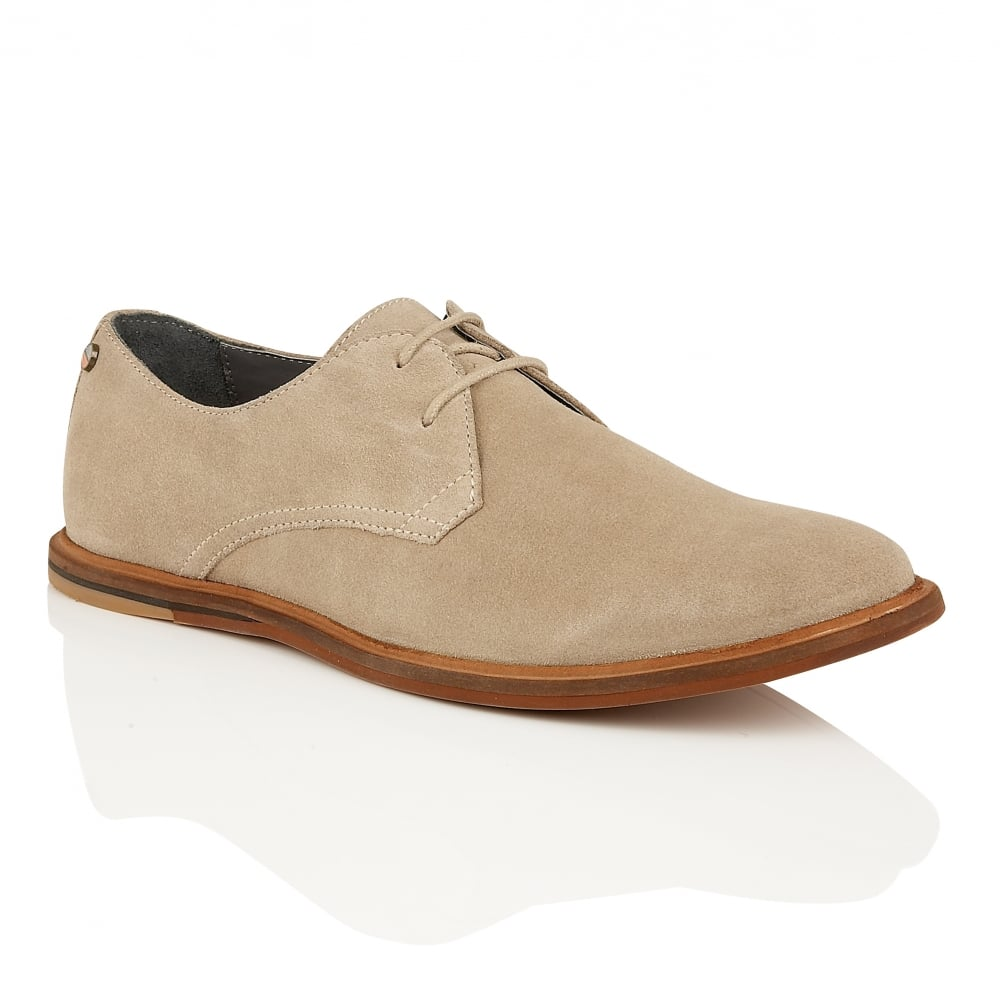 Mens Tan Suede Derby Shoes