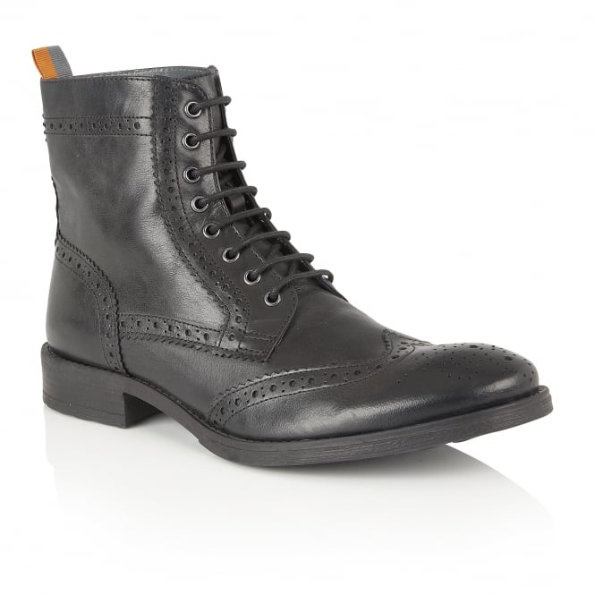Frank Wright Cypress Black Leather Ankle Lace Up Boot