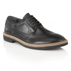 Haig Black Leather Brogue Shoe