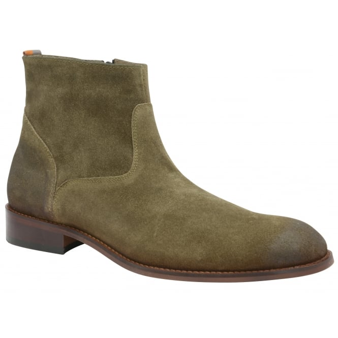 Frank Wright Hardin Khaki Oiled Suede Ankle Boot