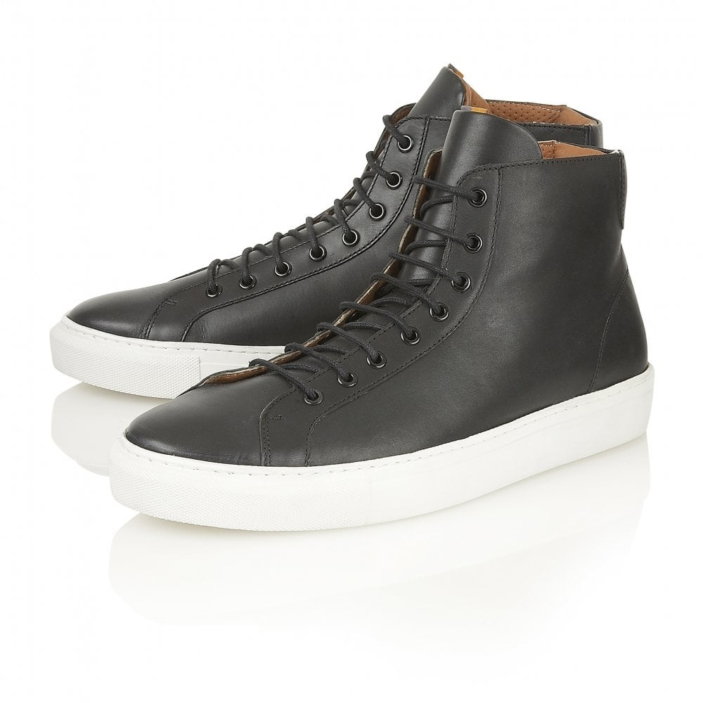 489e005cbd7e4 Buy men s Black White Leather Frank Wright Logan High Tops online
