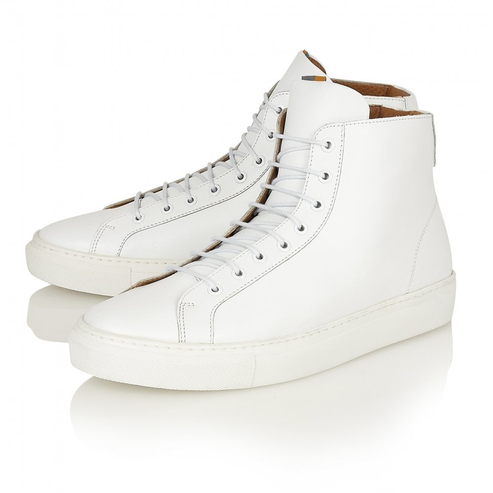 Logan White Leather High Top Sneaker