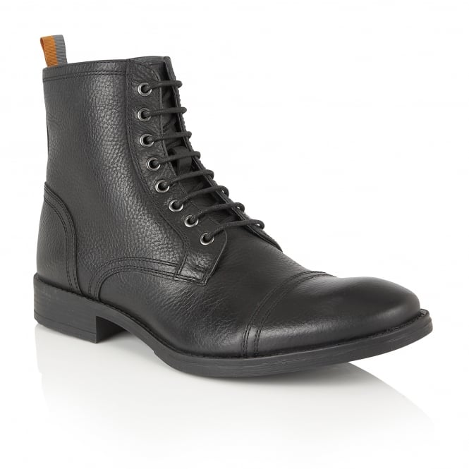 Frank Wright Marris Black Leather Ankle Lace Up Boot