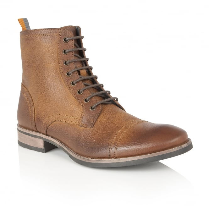 Frank Wright Marris Cognac Leather Ankle Lace Up Boot