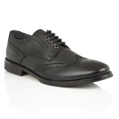 Merc Black Leather Brogue Derby Shoe