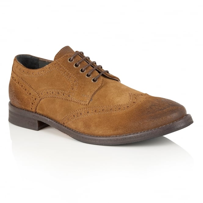 Frank Wright Merc Tan Suede Brogue Derby Shoe