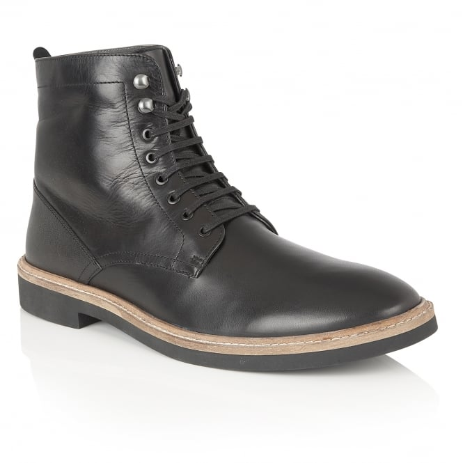 Frank Wright Munros Black Leather Ankle Lace Up Boot