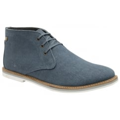 Truro Blue Canvas Lace-up Boot