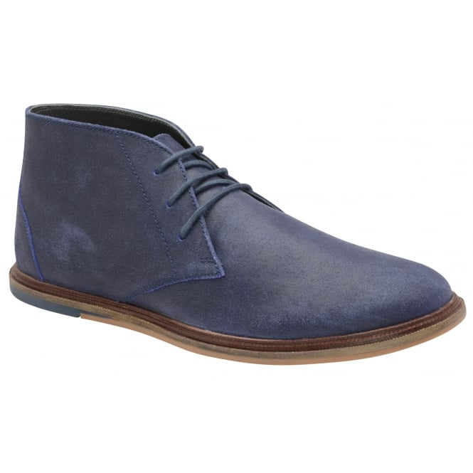 Frank Wright Walker Blue Crackled Suede Lace-up Boot