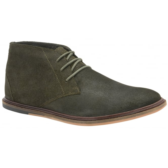 Frank Wright Walker Dark Khaki Oiled Suede Lace-up Boot