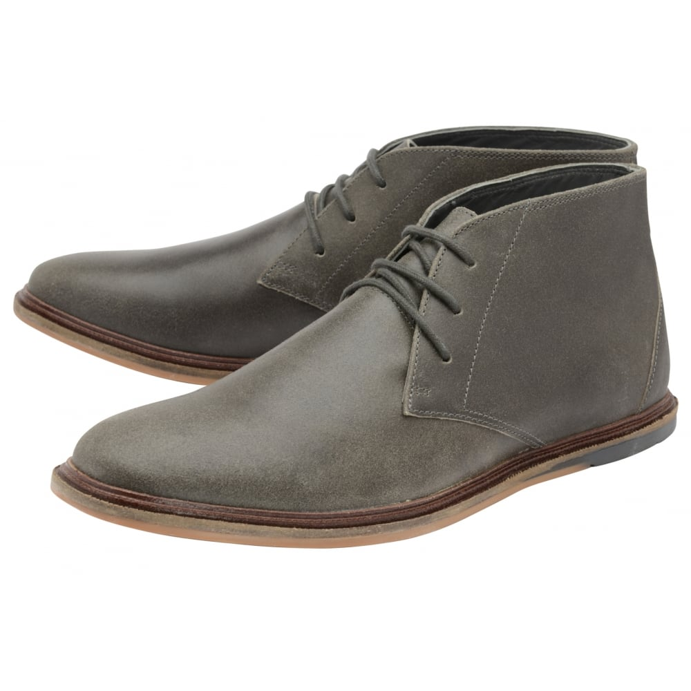 Buy men\'s Frank Wright Walker Grey Crackled Suede Lace-Up Boot online