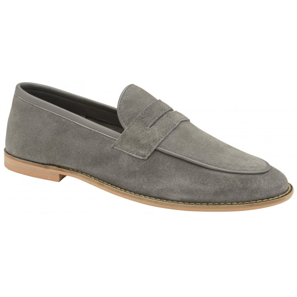 fac540b30203 Buy men s light grey suede Frank Wright Archie Loafers online at gola