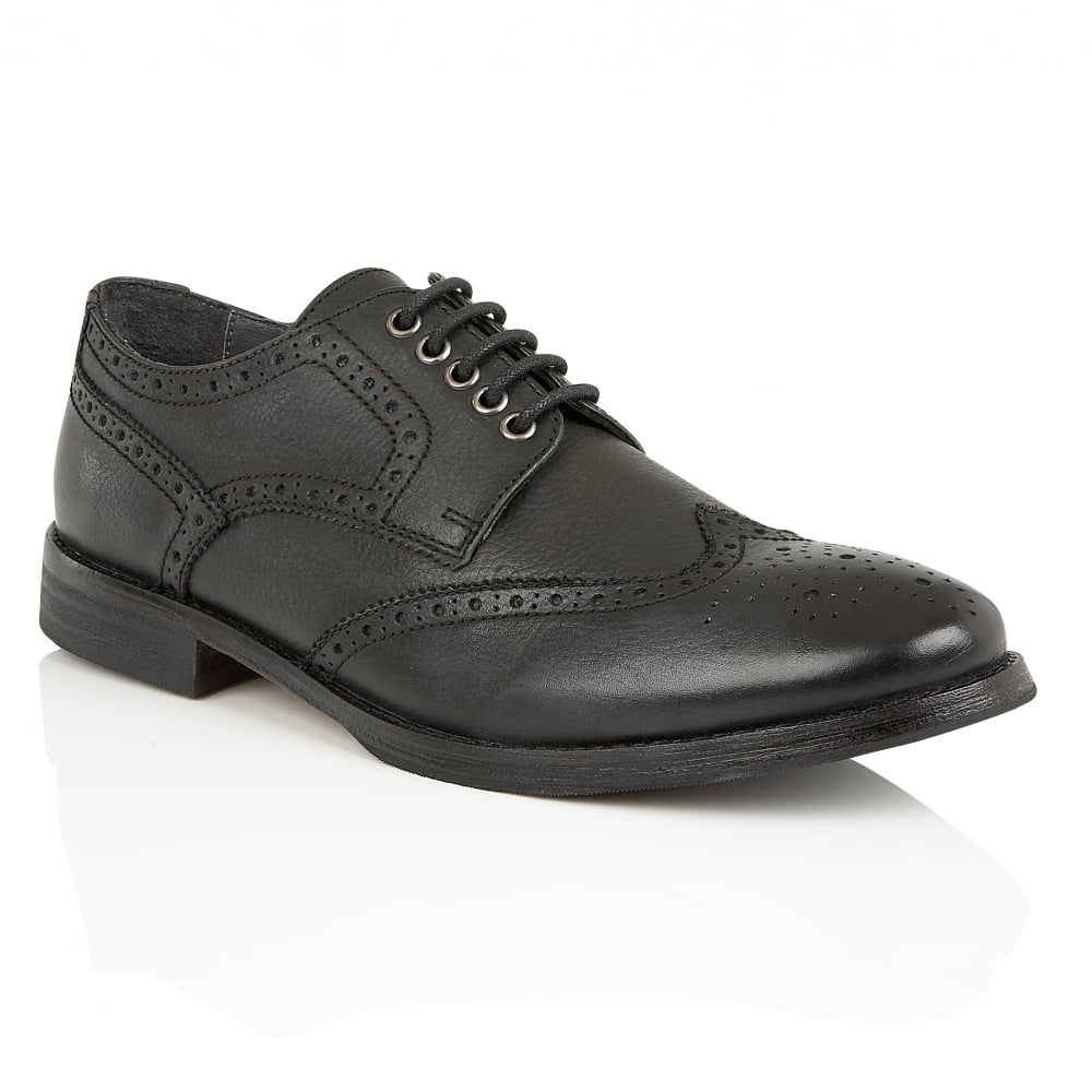 Buy Mens Frank Wright Merc Black Leather Brogue Derby Shoe Online
