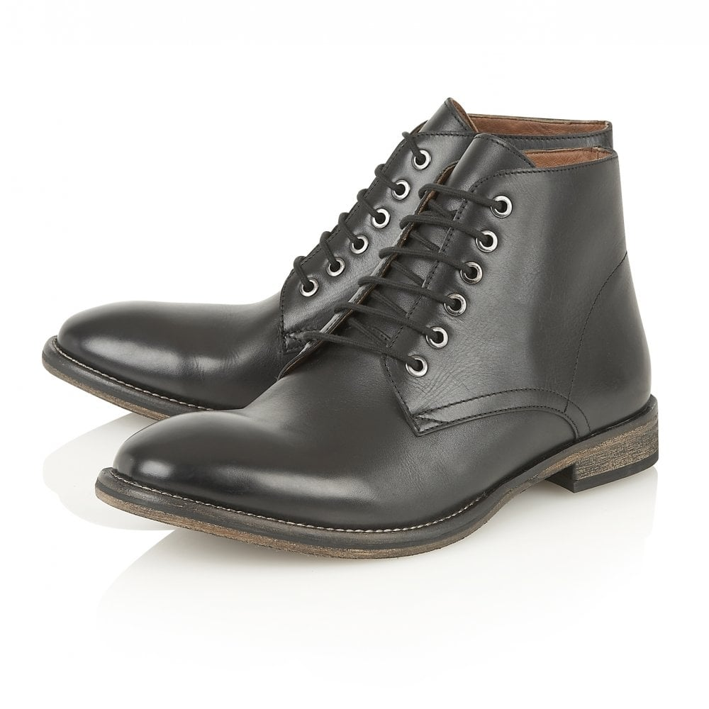 3f64a38aca39 Buy men s Frank Wright Oval Black Leather Ankle Lace Up Boot Online