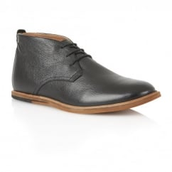 Strachan Black Leather Lace-up Boot