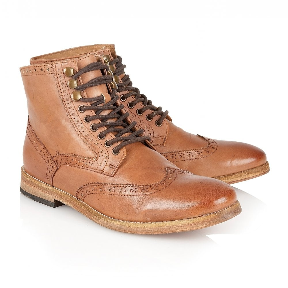 Whitby Teak Leather Brogue Boot